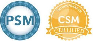 PSM and CSM certification badges.